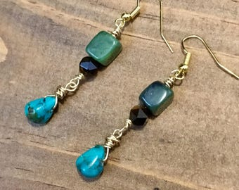Northwest Raindrops - Turquoise, Jade, and Tiger Eye Earrings - Natural Stone Jewelry - Handmade Earrings - Hand Wire Wrapped