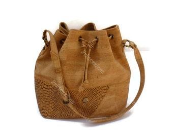 Handmade cork bag Bucket bag style