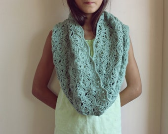 Sage Green Lace Cowl Scarf -Crochet Snood Scarf -Loop Circle Scarf-Cowl Scarf Crochet