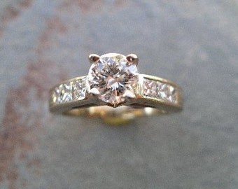 Diamond Engagement Ring with Princess Cut Diamonds Hand Engraved in 14K White Gold RF114