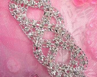 """TS115 Silver Crystal Clear Rhinestone Applique Embellishment 5"""" TS115-slcr"""