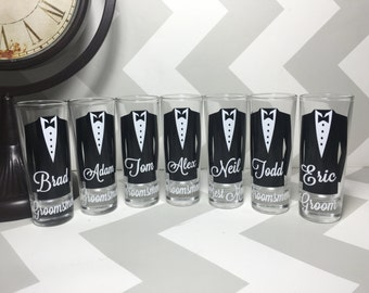Personalized Shot Glasses with Tuxes, Groomsmen Wedding Glasses, will you be my groomsman, groomsman gifts, wedding party gifts