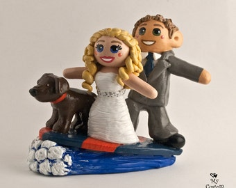 Surfing Bride and Groom Wedding Cake Topper