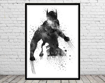 Wolverine poster, Wolverine Print, Wolverine Art, Watercolor Wolverine, Hero poster, Wolverine abstract print, Comic art (1955b)