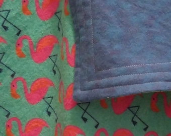 Pink Flamingo cotton flannel baby blanket/swaddle