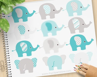 Blue and Grey Elephants Clipart, polka dots, chevrons, stripes, baby shower, new baby, commercial use, vector clipart, SVG cut files