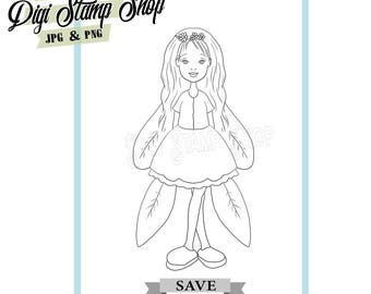 Fairy Wings Stamp, Digital Stamp, Fairy Stamp, Digi Stamp, Girl Stamp, Color In Page, Card Design, Lineart