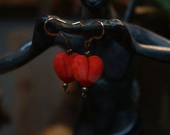 Red Faceted Glass Heart Earrings