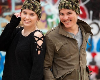 Camo Messy Bun Ponytail Hat Crochet in Camouflage - Messy Bun Beanie - Gift under 30 - Gift for Him - Gift for Her