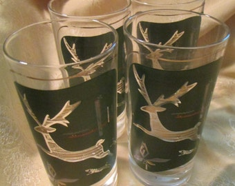 Four Glass Tumblers Hollywood Regency Style Leaping Deer Image