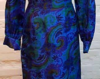 70s silk paisley maxi dress. UK size 14