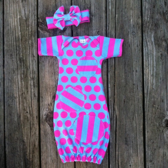 Items similar to Polka dot stripes, infant gown, pink and turquoise ...