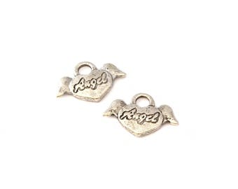 Set of 2 winged heart charms antique silver color *.