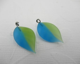 Glass Leaf Charms - Leaves with Silver Loops - 18mm X 12mm Pendants - Designer Series - Olivine Green & Aqua Blue - Matte - Qty 2 *NEW ITEM*
