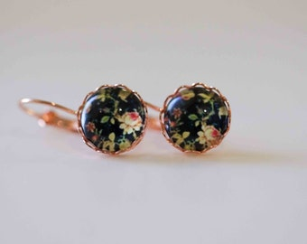 Drop Earrings, Black Floral in rose gold plated Antique bezel setting French lever back earrings