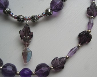 Purple Leaf Beaded Fashion Jewelry Set
