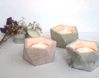 Geometric Concrete marble tealight candle holder
