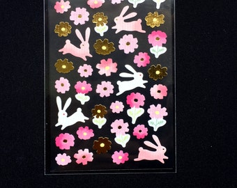 Flower Stickers - Japanese Washi Paper Stickers - Chiyogami Flower Stickers - Rabbit stickers -  (S146)