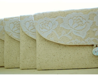 Personalize white rose lace Bridesmaid gift burlap clutch purse bridesmaid clutch wedding clutch bridal clutch cosmetic MakeUp Set 6 7 8 9