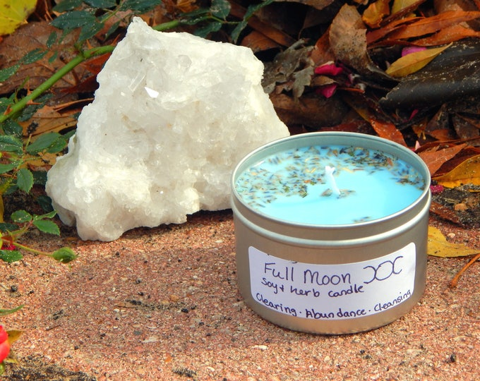 FULL MOON theme TIN Candle Ritual Prayer candle - Fixed, Dressed. - 100% Hand-crafted with soy wax, herbs and oils