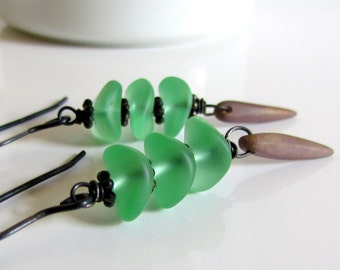 Sea Foam Green Earrings, Czech Glass, Sea Glass, Wire Wrapped, Mint Green Dangle Earrings, Oxidized Sterling Silver, Bohemian Summer