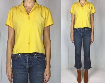 70s Cropped Yellow Cotton Blouse