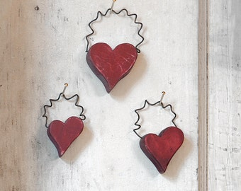 Heart Ornaments. Valentine Heart Ornaments. Set of Wood Heart Ornaments. Rustic Wood Heart Set.