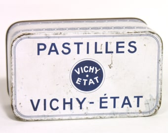 French Metal Vichy Candy Box - French Regional Specialty - Tin Box - 1950 - Made in France - French Collectible Box - Industrial Home Decor