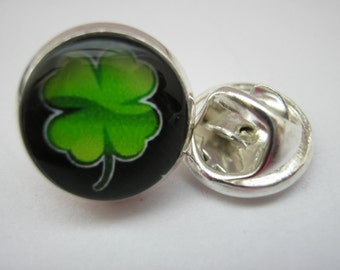 "Irish Lapel Pin Four Leaf Clover Shamrock 14mm (1/2"" inch) Mens Black Tie Tack Cap Pin, St Patrick's Day Brooch Pin Irish Gifts for Men"