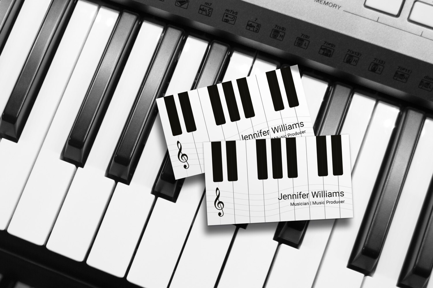 Musician Piano Black and White Business Card Template PSD