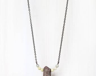 PINK CRYSTAL POINT || beaded gemstone necklace