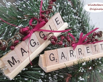 Personalized Scrabble Ornament with Tile Tray - Stocking Stuffer - Co-Worker Gift -Package Tie-On
