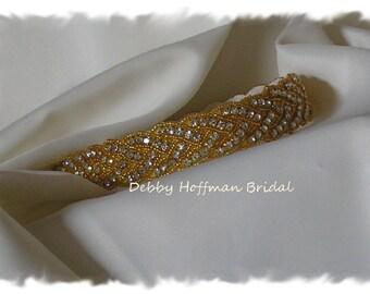 Gold Wedding Headband, Crystal Gold Bridal Headband, Gold Jeweled Bridal Headpiece, Gold Wedding Hair Piece, Gold Headband, No. 3010GHB-14