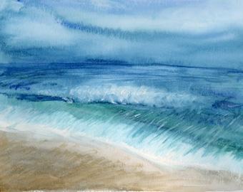 Beach Shore Original Watercolor 9x12