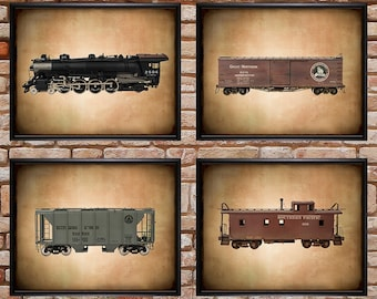 Discounted Set of Four Vintage Train Cars Locomotive Boys Room Decor Man Cave Wall Art Gifts for Men #vi346