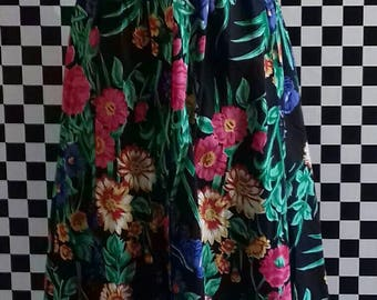 Black floral 50's style summer dress - S/M