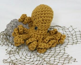 Large Poli the Octopus Amigurumi -Mustard Gold w/ gold eyes
