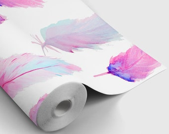 Watercolor Feathers Peel and Stick Wallpaper | Peel and Stick Temporary Wallpaper | Removable Wall Sticker