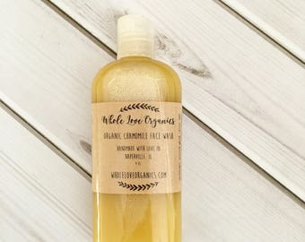 Organic Chamomile Face Wash - Vegan Face Wash - Natural Face Wash - Non Toxic Cleanser - Nourishing Soap Cleanser - Essential Oils
