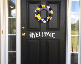 Summer to Fall wreath, Blue wreath, Gray wreath, White wreath, Yellow wreath, Yarn and ribbon wrapped wreath with felt flowers