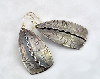 Textured Sterling Silver Shield Earrings with Soldered Wavey Sterling Silver Wire