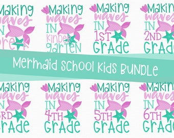 MERMAID Back to School, Bundle, Svg, Preschool, Kindergarten, 1st, 2nd, 3rd, 4th, 5th, grade, shirt, PNG, Sweet, Cutting, Cricut, Silhouette