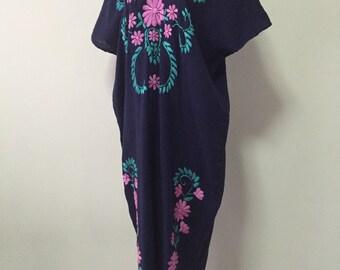 Embroidered Maxi Dress Cotton Long Dress In Blue, Kaftan Dress