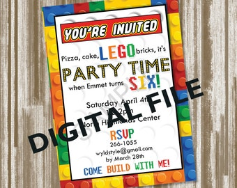 Block Frame Birthday Invitation--Personlized Digital File