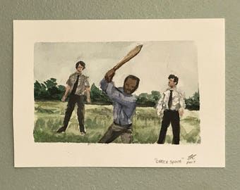 Office Space Watercolor Painting