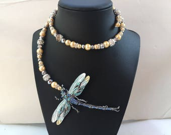 Dragonfly blue & beige pearls , crystal wire wrap necklace ,