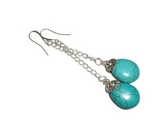 Turquoise earrings drop earrings magnesite earrings dangle earrings chain earrings turquoise silver simple fashion earrings fancy earwire