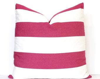 Dark Pink and Cream Stripe Decorative Designer Pillow Cover accent throw cushion striped nautical modern preppy classic fuchsia raspberry 22