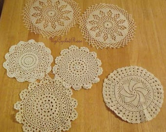 Vintage Crochet Doilies X 6 Farmhouse Collection Shabby Chic Ships Free in USA Next Day