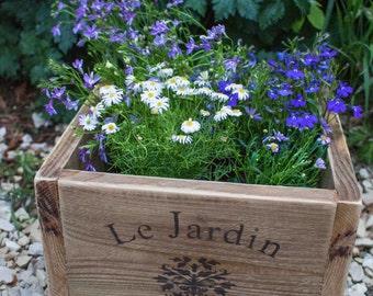 Vintage style planter, wooden planter, patio planter, outdoor or indoor planter, plant pot, planter